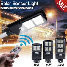 <b>60W</b>/<b>90W</b>/<b>120W LED Solar Street</b> Light PIR Motion Sensor Outdoor ...