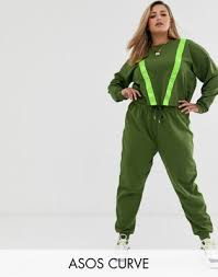 ASOS DESIGN Curve tracksuit cropped sweat / jogger with <b>neon</b> ...
