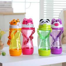 <b>450ML</b> Animal Plastic Straw <b>Portable</b> Children Water Bottle Kids ...
