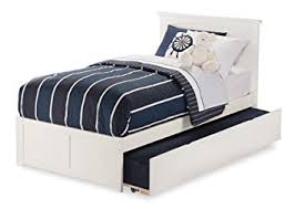 nantucket bed with flat panel foot board and urban trundle twin white atlantic furniture orleans transitional twin open foot