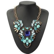 Luxury crystal water <b>drop</b> flower choker statement <b>pendant</b> necklace ...