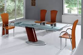 Orange Dining Room Chairs Modern Dining Sets Design With Glass Rectangle Table Install On