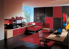 view in gallery black and red furniture
