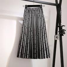 Compre Faldas Plisadas Mujeres 2019 Primavera <b>Saia</b> Midi Cintura ...