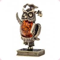 Купить <b>Сова</b> ученая - фигурка из бронзы с камнем <b>янтарь</b>.