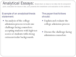 the central focus of any essay thesis statements  ppt download analytical essays break down an issue or an idea into its component parts evaluates