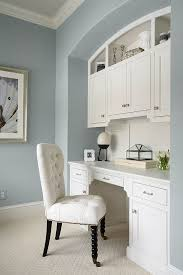 office built in built in were painted with benjamin moore china white in a satin finish built home office desk builtinbetter