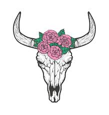 Bull <b>Skull</b> With Roses Native Americans <b>Tribal</b> Style Tattoo Blackwork