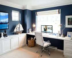 home office ideas blue walls with white furnitures blue office walls
