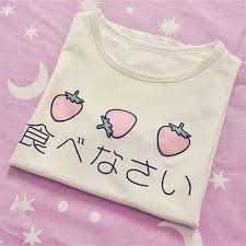 <b>Japanese</b> Delicious Egg Strawberry Printed <b>Kawaii</b> T <b>shirt Peplum</b> ...