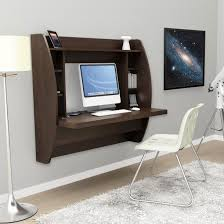 white acrylic chair with unique wall mounted wooden table with shelves under computer below white acrylic office furniture