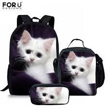 FORUDESIGNS <b>3Pcs</b>/<b>Set</b> Adorable Kitten Cat <b>School Bags</b> for Girls ...