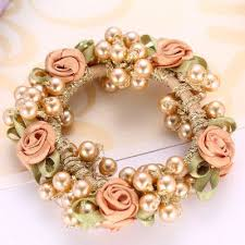 <b>Fashion</b> Elegant Headwear Women <b>Gum Pearl Hair</b> Rope Full ...