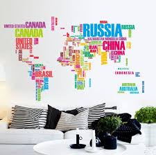 colorful english words world map office living room background removable wall stickers mural sticker diy aliexpresscom buy office decoration diy wall