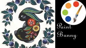 Paint <b>Bunny</b>, роспись зайки городецкими цветами, irishkalia ...