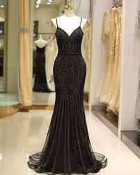 Buy spaghetti straps <b>black beading mermaid</b> style evening dress ...