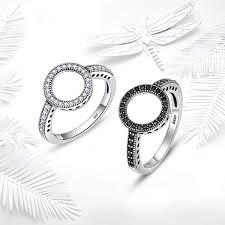 BAMOER 100% <b>Genuine 925 Sterling Silver</b> Forever Clear Black CZ ...