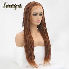 Imeya Long Braided <b>Lace Front</b> Wigs Synthetic Glueless <b>High</b> ...