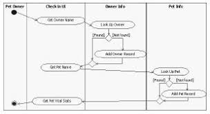 five step uml  ooad for short attention spans   define  refine    activity diagram for get pet info use case    swimlanes
