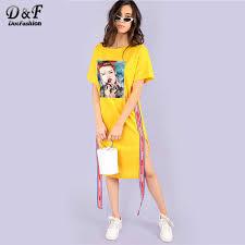 Dotfashion Figure Print <b>Contrast</b> Tape Side Slit Dress <b>2019</b> Summer ...