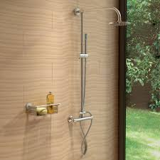thermostatic brand bathroom: round or square twin head thermostatic shower mixer