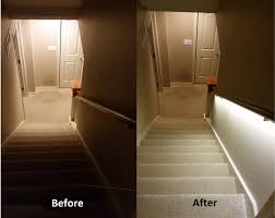 stair lighting solution with led strips basement stairway lighting
