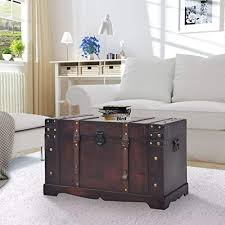 Canditree Storage Trunk <b>Wood</b>, Antique <b>Treasure Chest Large</b> ...