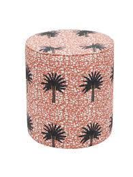 Vibrant modern African <b>print pouffe</b> with bright pink palm tree <b>design</b> ...