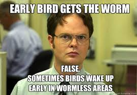 early bird gets the worm FALSE. Sometimes birds wake up early in ... via Relatably.com