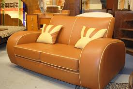 resplendent retro classic tan faux leather sofas two seater as art deco furniture added vanity table in classic style interior living areas designs art deco furniture information