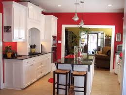 maple kitchen red wall