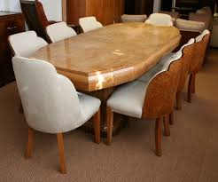 oval dining table art deco: original art deco dining table and chairs by epstein  walnut backed chairs and two upholstered later chairs in solid walnut with walnut veneer