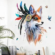 European Style <b>Hand Painted</b> Wolf Head Wall Stickers <b>Colorful</b> ...