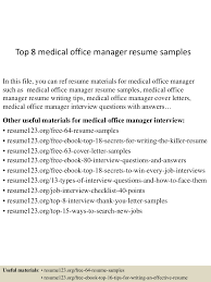 top8medicalofficemanagerresumesamples 150426005052 conversion gate01 thumbnail 4 jpg cb 1430027501