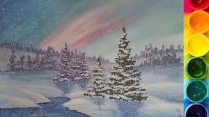 Пошаговый урок по рисованию <b>Зимнего пейзажа</b> гуашью - YouTube