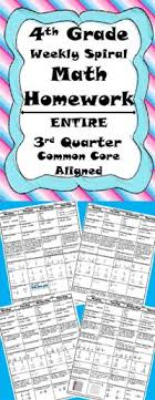 th Grade Common CoreMath Homework for the ENTIRE  rd Quarter  This is      editable