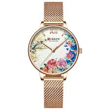 <b>Curren</b> 9059 <b>Women</b> Flowers Decor <b>Small</b> Dial Quartz Watch ...