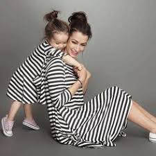 <b>Fashion Family Matching Outfits</b> Black White Striped Mommy And ...