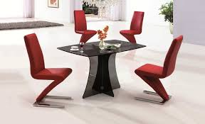 small dining tables sets: modern dining sets black fiber glass small dining tables sets red seats