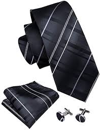 <b>Barry.Wang</b> Stripe Ties for Men Handkerchief Cufflink Black Business
