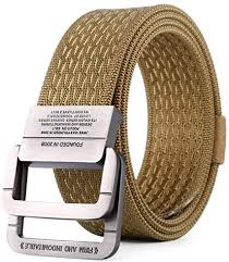 Inlefen <b>Men's canvas</b> woven <b>belt</b> double ring buckle sports <b>belt quick</b> ...