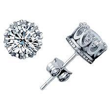 Stud Earrings New Fashion 925 Sterling Silver Crown ... - Amazon.com