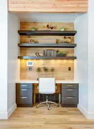 industrial chic home office small office space with built in desk wood wall white leather office chair and wood shelving for more inspirational ideas alcove contemporary home office