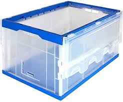 55L <b>Collapsible Plastic Storage Crate</b> Utility Distribution Container ...