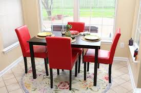 size red leather parsons dining amazoncom  pc red leather  person table and chairs red dining dinette