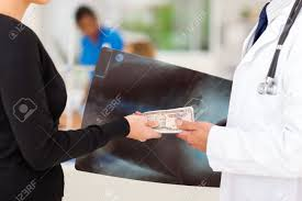 doctor receiving a bribe from medical representative stock photo stock photo doctor receiving a bribe from medical representative