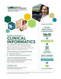 shp department of health services administration graduate certificate in clinical informatics amia 10x10