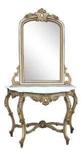 19th Century Italian <b>Hand Painted Console</b> and Mirror with Cararra ...