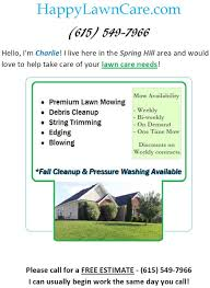 lawn mowing services in spring hill tn happy lawn care lawn mowing services