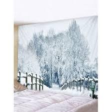 [40% OFF] 2019 <b>Snow Forest Bridge</b> Road Print Tapestry Wall ...